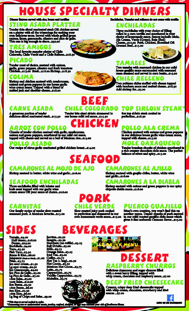 Lunch and Dinner Menu 3 Mi Cielo Mexican Restaurant