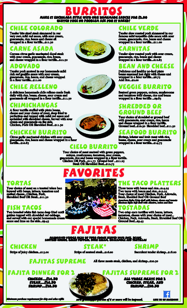 Lunch and Dinner Menu 2 Mi Cielo Mexican Restaurant